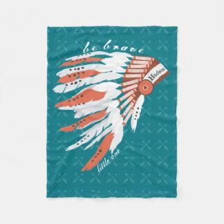 Personalize Indian Feather Headdress Arrow Pattern Fleece Blanket