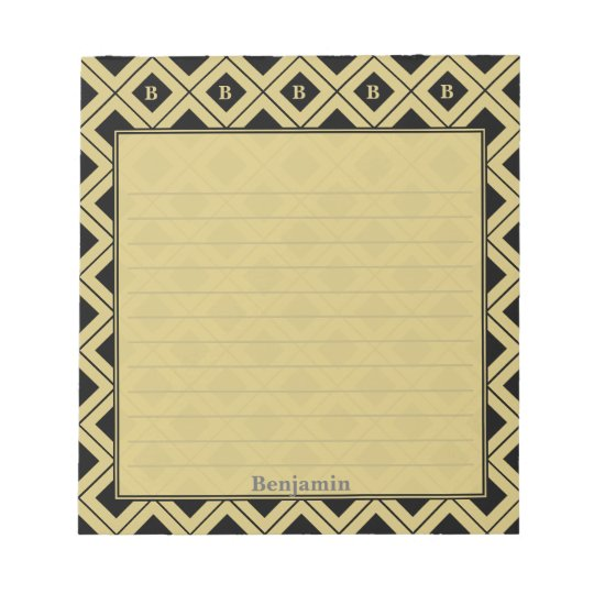 Personalize: Initial Black/Gold Geometric Blocks Notepad