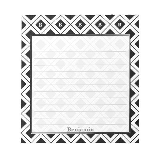 Personalize: Initial Black/White Geometric Blocks Notepad