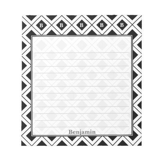 Personalize: Initial Black/White Geometric Blocks Notepads