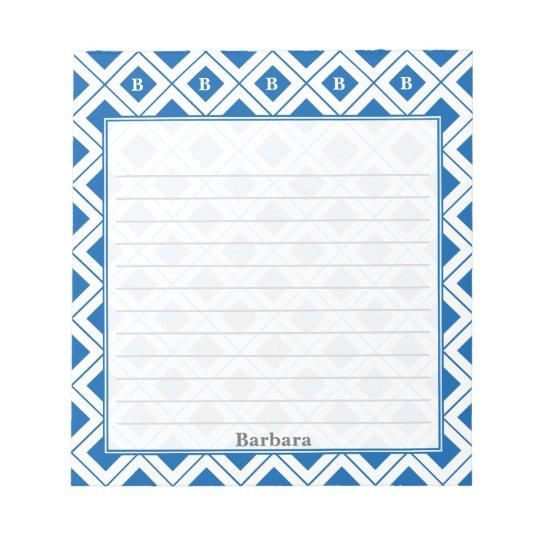 Personalize: Initial Blue/White Geometric Blocks Notepad