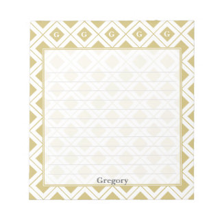 Personalize: Initial Gold/White Geometric Blocks Notepad