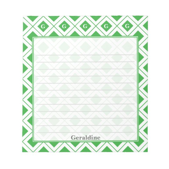 Personalize: Initial Green/White Geometric Blocks Notepad