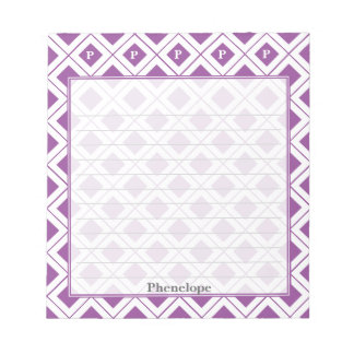 Personalize: Initial Purple/White Geometric Blocks Notepad