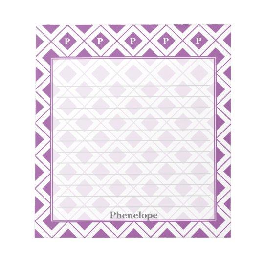 Personalize: Initial Purple/White Geometric Blocks Notepad