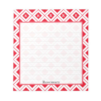 Personalize: Initial Red/White Geometric Blocks Notepad
