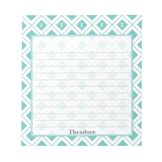 Personalize: Initial Teal/White Geometric Blocks Notepad