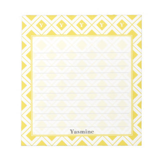 Personalize: Initial Yellow/White Geometric Blocks Notepad