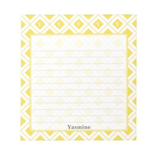 Personalize: Initial Yellow/White Geometric Blocks Notepads
