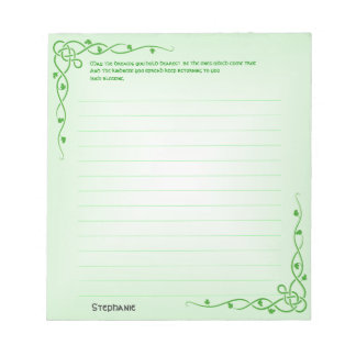 Personalize:  Irish Blessing (#1) Celtic Braids Notepad