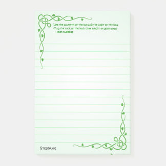 Personalize:  Irish Blessing (#2) Celtic Braids Post-it Notes