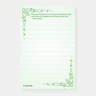 Personalize:  Irish Blessing (#4) Celtic Braids Post-it Notes