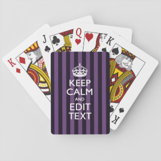 Personalize it Keep Calm Your Text Purple Stripes Playing Cards