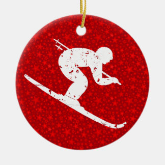 Personalize it, Skier Ceramic Ornament