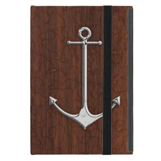 Personalize it! Wet Nautical Mahogany Anchor Steel Covers For iPad Mini