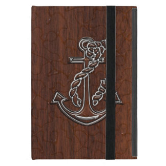Personalize it! Wet Nautical Mahogany Anchor Steel iPad Mini Cases