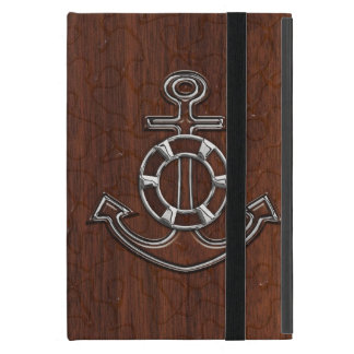 Personalize it! Wet Nautical Mahogany Anchor Steel iPad Mini Covers