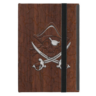 Personalize it! Wet Nautical Mahogany Pirate Skull Covers For iPad Mini