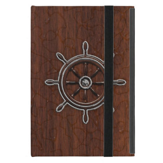 Personalize it! Wet Nautical Mahogany Wheel Cases For iPad Mini