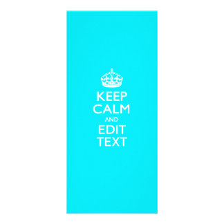 Personalize Keep Calm Your Text Turquoise Blue Rack Cards