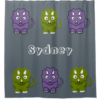 Personalize Kid Any Colour Dinosaur Shower Curtain
