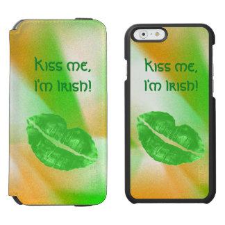 "Personalize ""Kiss me I'm Irish"" Abstract Pattern Incipio Watson™ iPhone 6 Wallet Case"