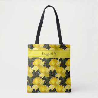 Personalize: Large Floral Daffodils Pattern Black Tote Bag