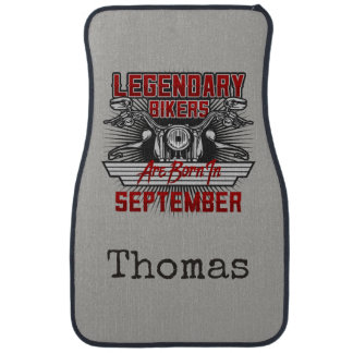 Personalize Legendary Bikers Are Born In September Car Mat