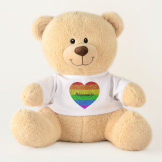 Personalize LGBT flag vibrant sparkles heart Teddy Bear