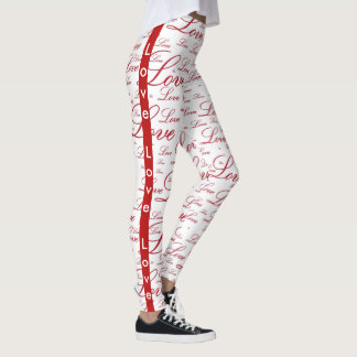 "Personalize:   ""Love "" Red Valentine's Typography Leggings"