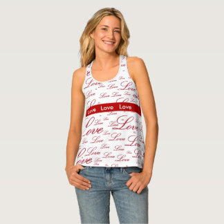 "Personalize:   ""Love "" Red Valentine's Typography Tank Top"