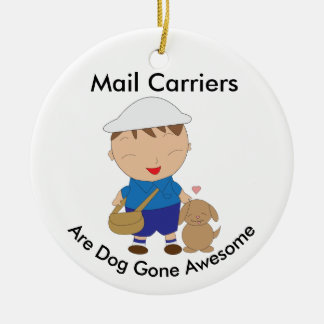 Personalize Mail Carrier Postal Worker Brown Dog Ceramic Ornament