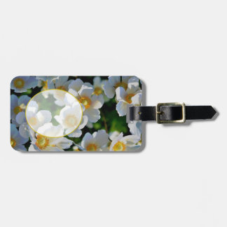 Personalize Me! Monogram on White Flowers Tag