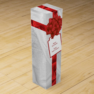 "Personalize: ""Merry Christmas"" Red Textured Wine Box"