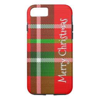 """Personalize """"Merry Christmas"""" Tartan Plaid Pattern iPhone 8/7 Case"""