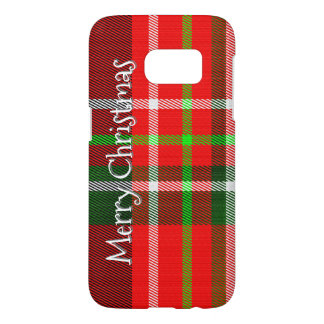 "Personalize ""Merry Christmas"" Tartan Plaid Pattern Samsung Galaxy S7 Case"