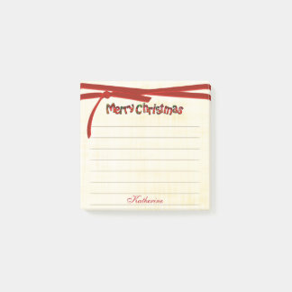 Personalize: Merry Christmas Tartan Typography Post-it Notes