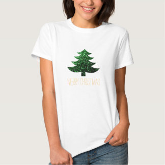Personalize Merry Christmas tree green sparkles Tees