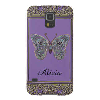 Personalize Metallic Glitter Butterfly Galaxy Case