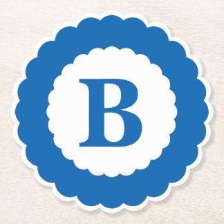 Personalize: Minimalist Blue Initial Scallops Paper Coaster