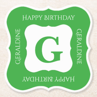 Personalize: Minimalist Green/White Bold Initials Paper Coaster