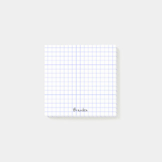 Personalize:  Minimalist Grid Paper Notes Monogram