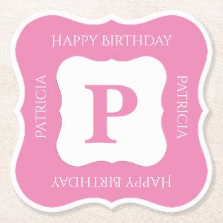 Personalize: Minimalist Pink/White Bold Initials Paper Coaster