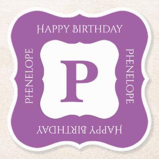Personalize: Minimalist Purple/White Bold Initials Paper Coaster