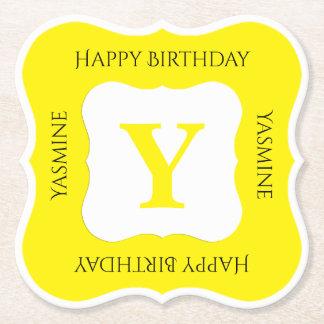Personalize: Minimalist Yellow/White Bold Initials Paper Coaster
