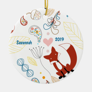 Personalize Modern Fox  Woodland Pattern Ceramic Ornament