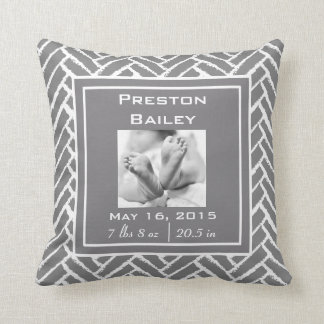 Personalize Modern Herringbone Pattern Pillow