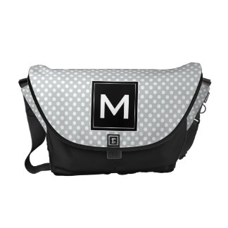 Personalize Modern Monogram Polka Dots & Stripes Commuter Bags