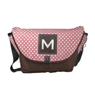 Personalize Modern Monogram Polka Dots & Stripes Messenger Bags