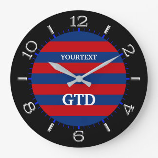 Personalize Modern Vibrant Horizontal Stripes on a Large Clock